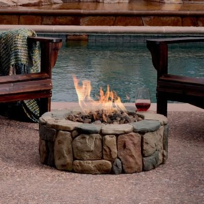 Hampton Bay Petra 36 In Round Envirostone Propane Fire Pit 66600bond The Home Depot Cool Fire Pits Gas Firepit Gas Fire Pit Table