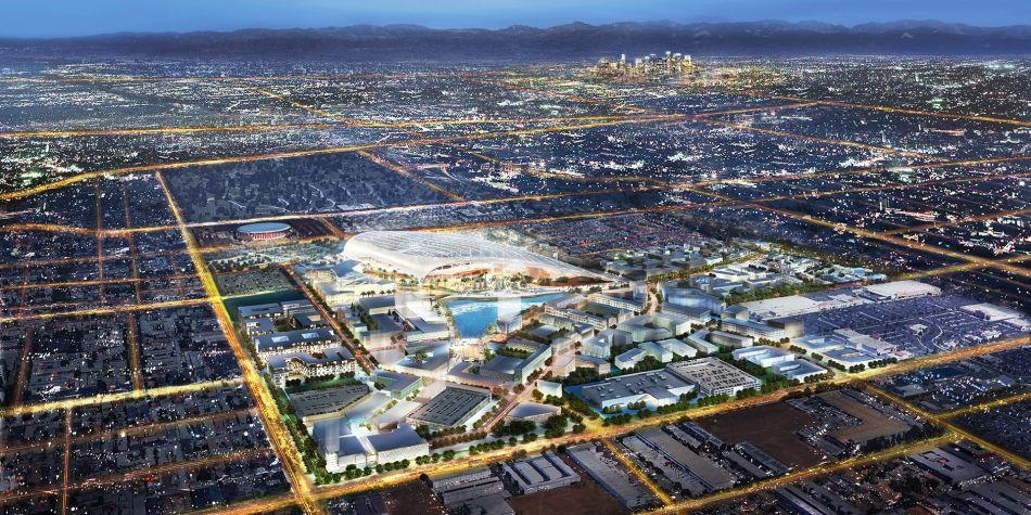 An Overhead View Of The Future Inglewood Stadium Urbanize La Inglewood Artificial Lake Nfl Stadiums