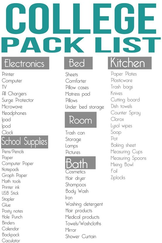 College Pack List Good School Supplies