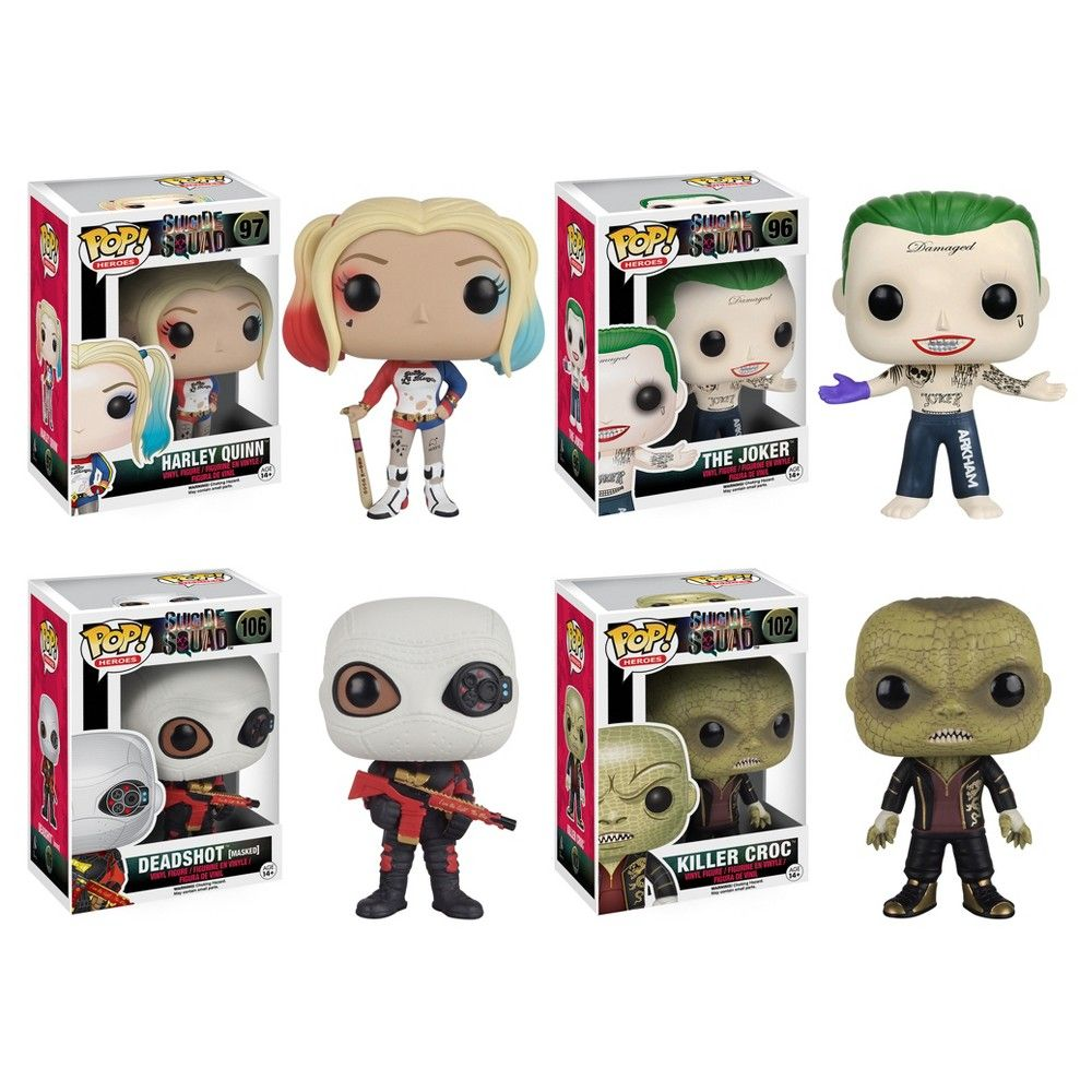 Funko Suicide Squad: Pop! Movie Collectors Set; Harley Quinn, Joker Shirtless, Deadshot(masked) & Killer Croc