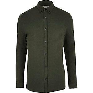 Khaki green muscle fit casual shirt | January 2017 | Pinterest ...