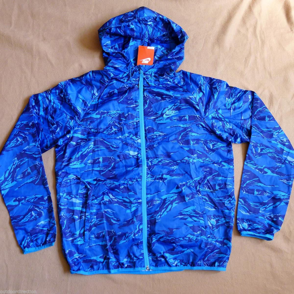 Nike Packable Camo Lightweight Windrunner Jacket L Blue