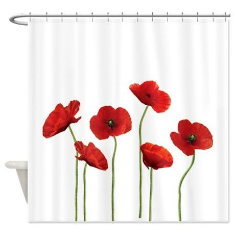 Poppy Flowers Shower Curtain On Cafepress Com Curtains Vintage