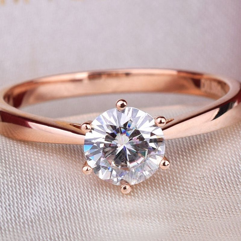 Simple Classic Genuine 14k Rose Gold 1 Carat Ct No Less Than Gh Eng Rose Gold Engagement Ring Simple Beautiful Diamond Engagement Ring Moissanite Diamond Rings