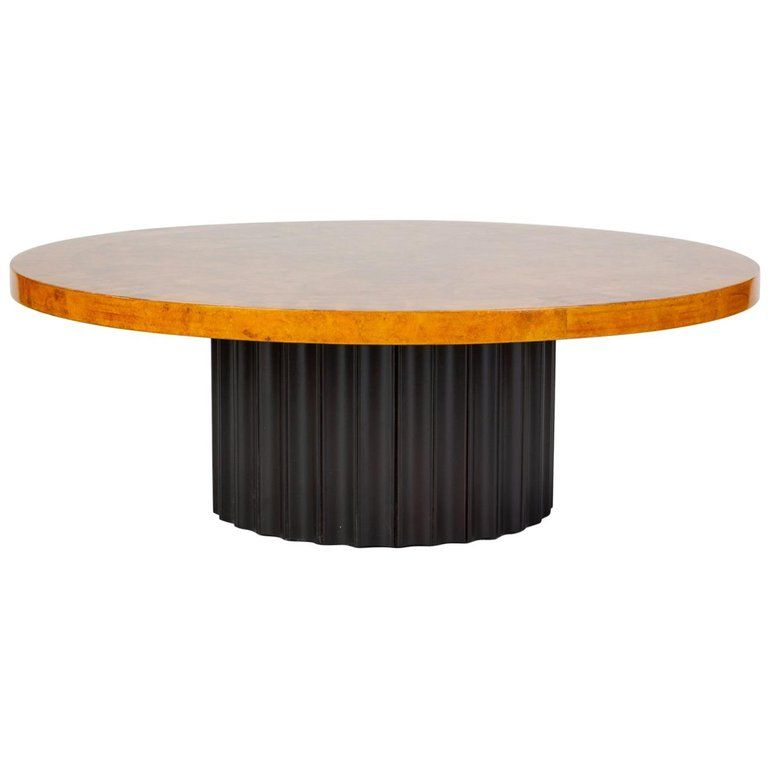 Custom 1970s Round Coffee Table In Lacquered Parchment With Pedestal Base Round Coffee Table Coffee Table Table