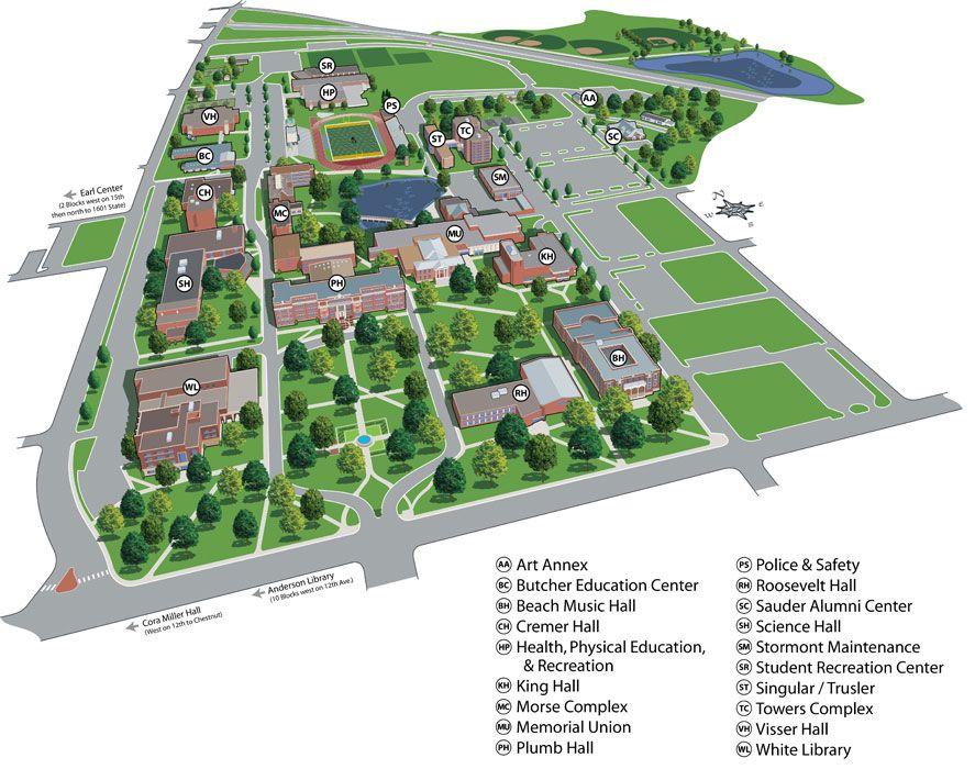 unity college campus map 3d View Of Emporia State University S Campus Campus Map Campus