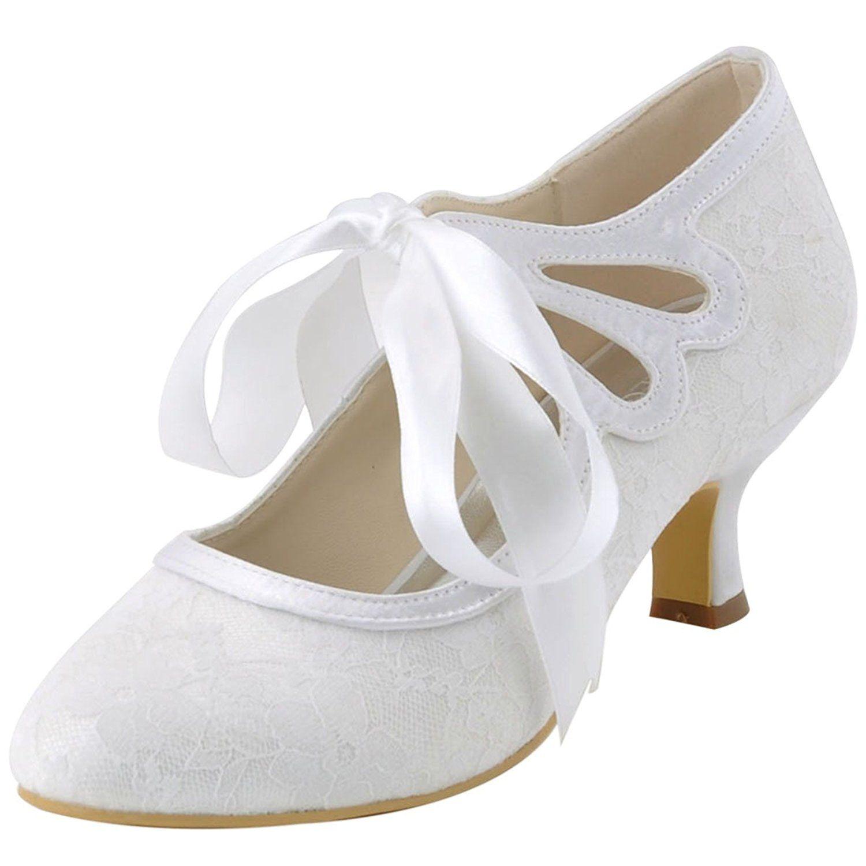 Vintage Style Wedding Shoes Boots Flats Heels ElegantPark HC1521 Womens Mary Jane Closed