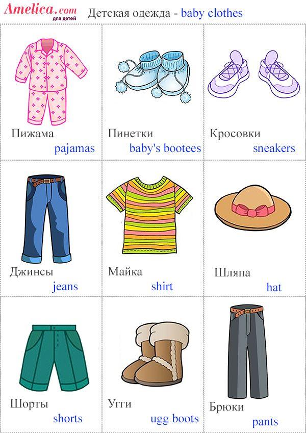 детская одежда картинки, английский для детей одежда ...
