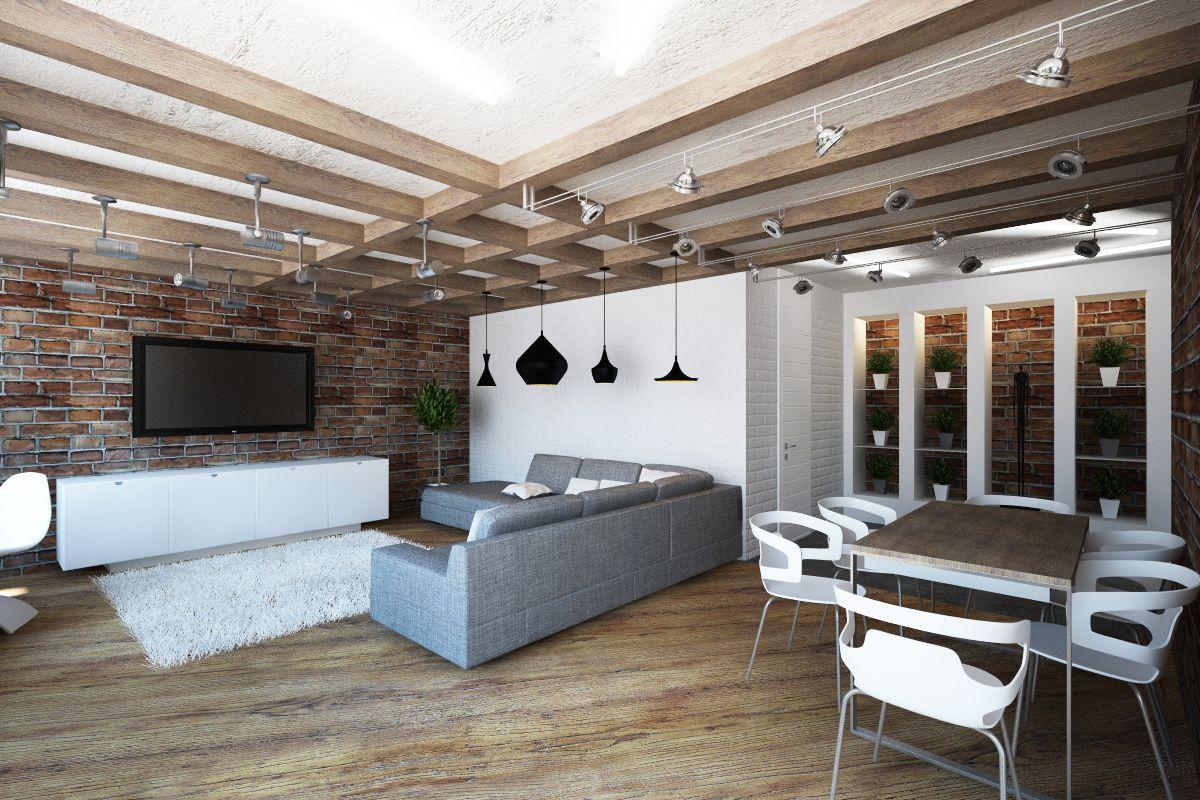 www.dizayn v stile loft - Поиск в Google accent on wall instead back ...
