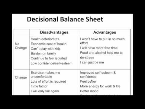 Decisional Balance Motivational Interviewing \ Transtheoretical - balance sheet