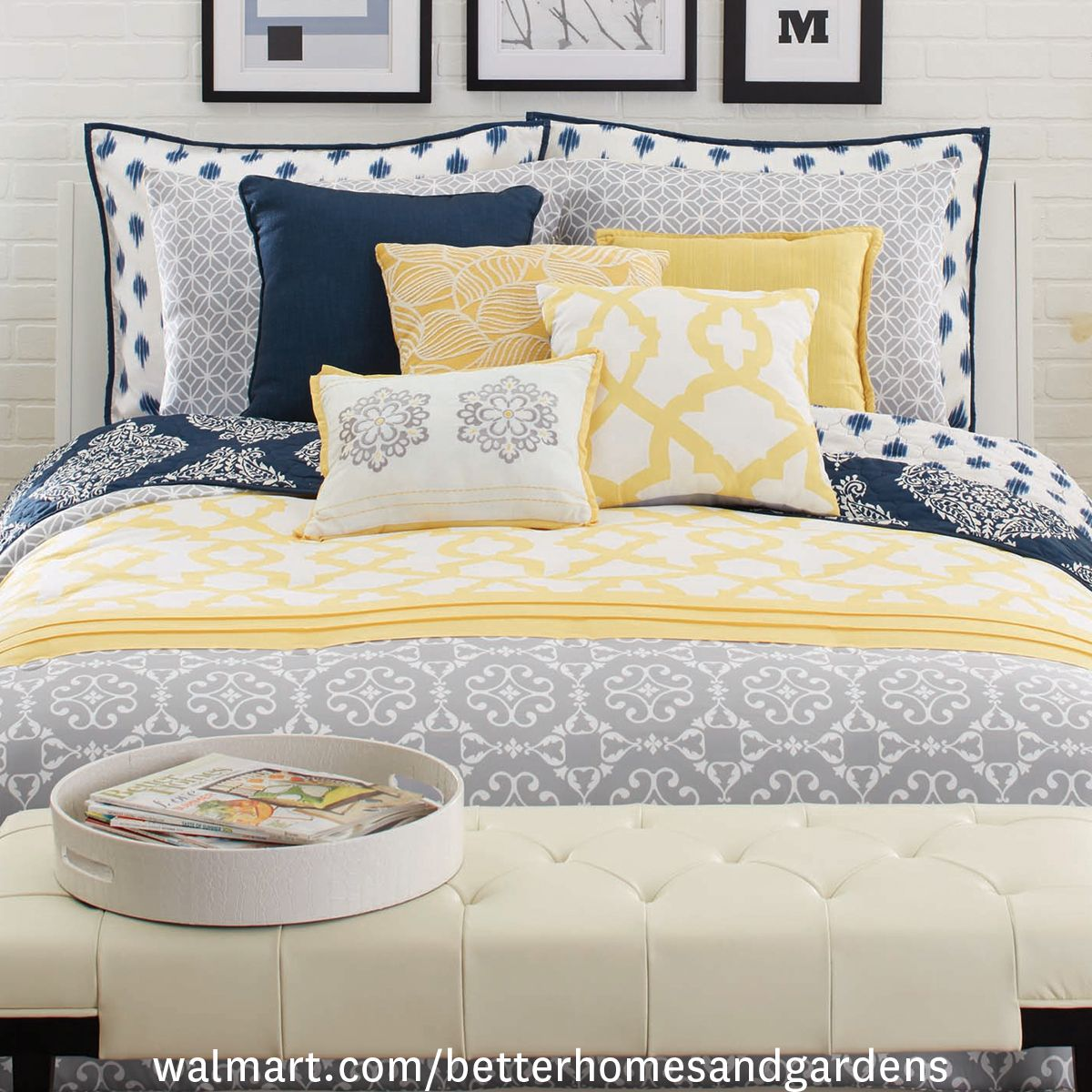 Better Homes and Gardens Yellow and Gray Medallion 5 Piece Bedding     Better Homes and Gardens Yellow and Gray Medallion 5 Piece Bedding  Comforter Set   Walmart com