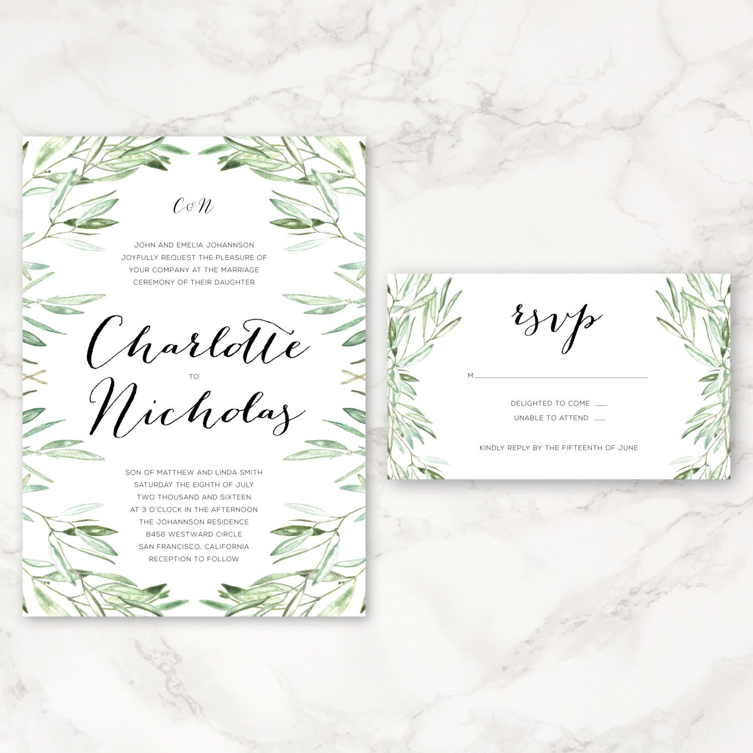 Printable Wedding Invitation - Watercolor Olive Branches - Greenery ...
