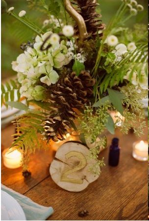 Pinecone Wedding Centerpieces Rustic Pine Cone And Flower