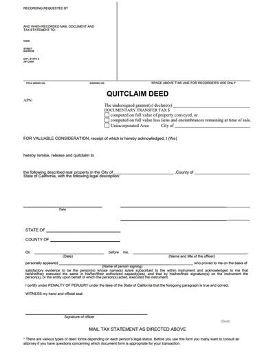 quick claim deed form free  Free Quit Claim Deed - Free Quit Claim Deed Forms PDF   Word ...