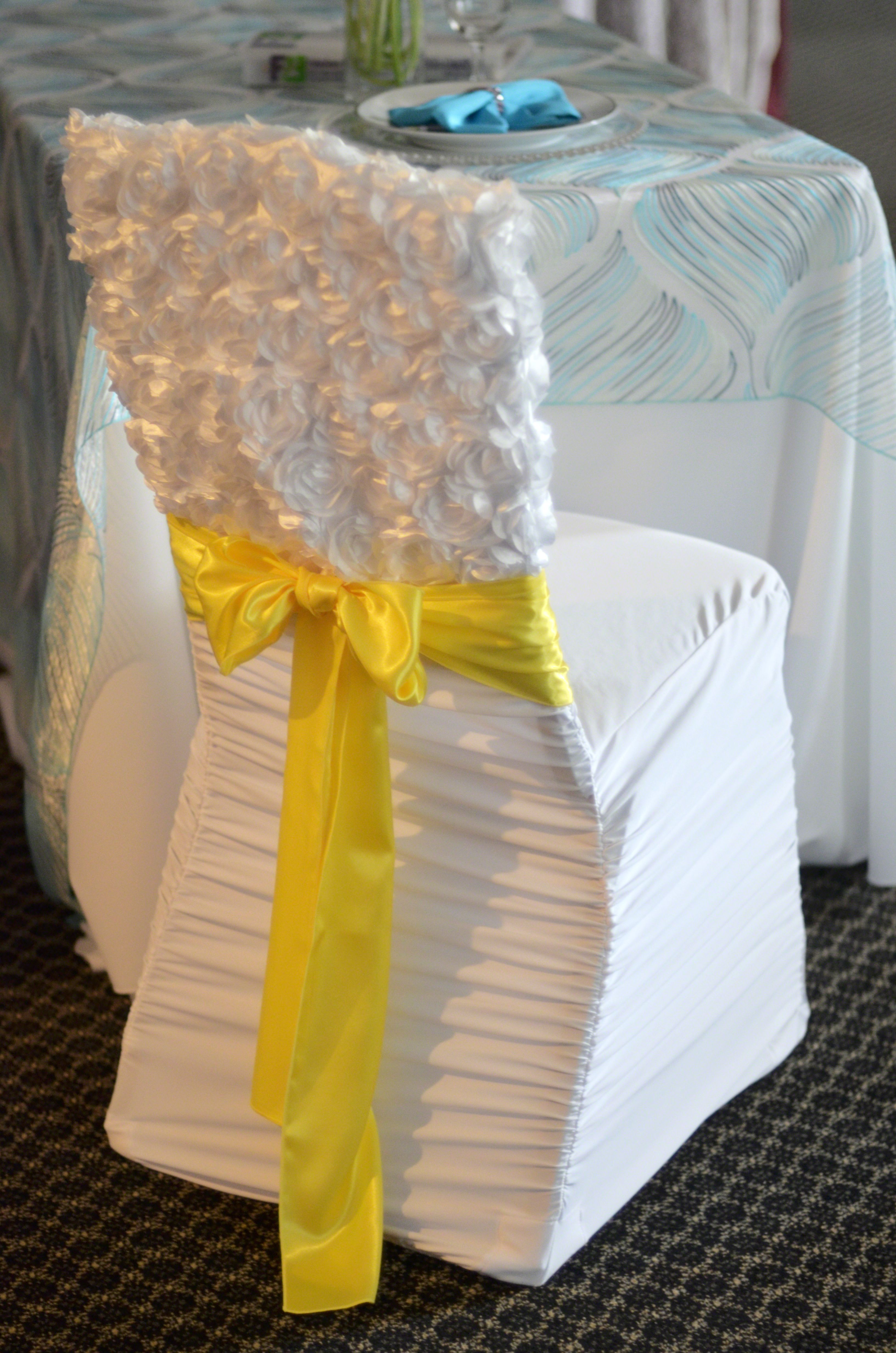Loveable Chair Cap Over Rouge Pleat Chair Cover With Lemon Satin Sash Chair Covers Chair Chair Decorations