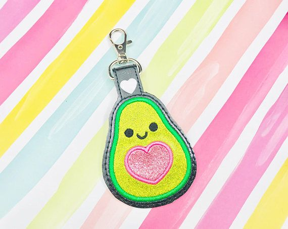 Avocado applique snap tab embroidery digital file instant download