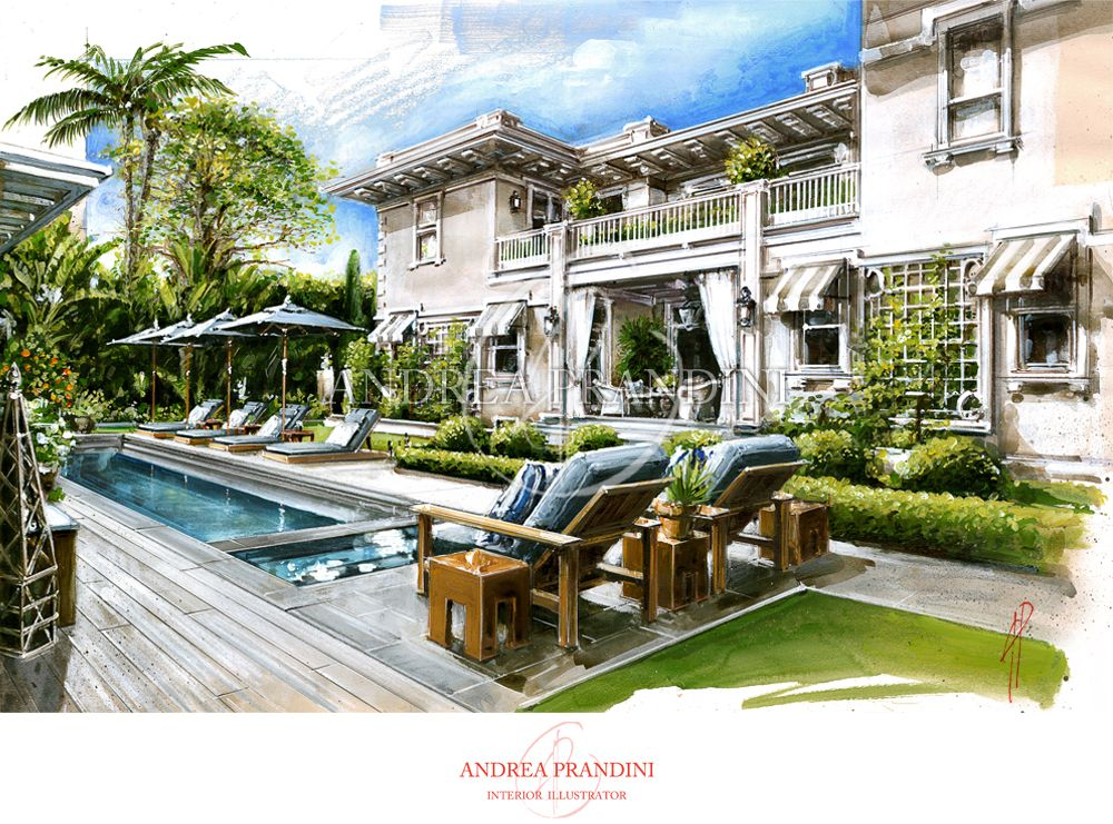 Exterior illustration and visualization watercolor for Exterior rendering