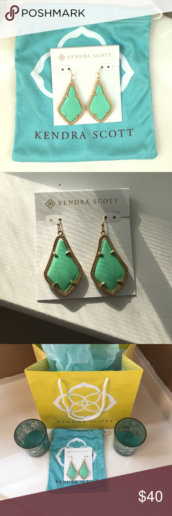 Mint Kendra Scott Alex earrings Perfect condition mint Kendra scott Alex earrings with gold hardware. These go perfect with anything and will dress up and black dress! Kendra Scott Jewelry Earrings