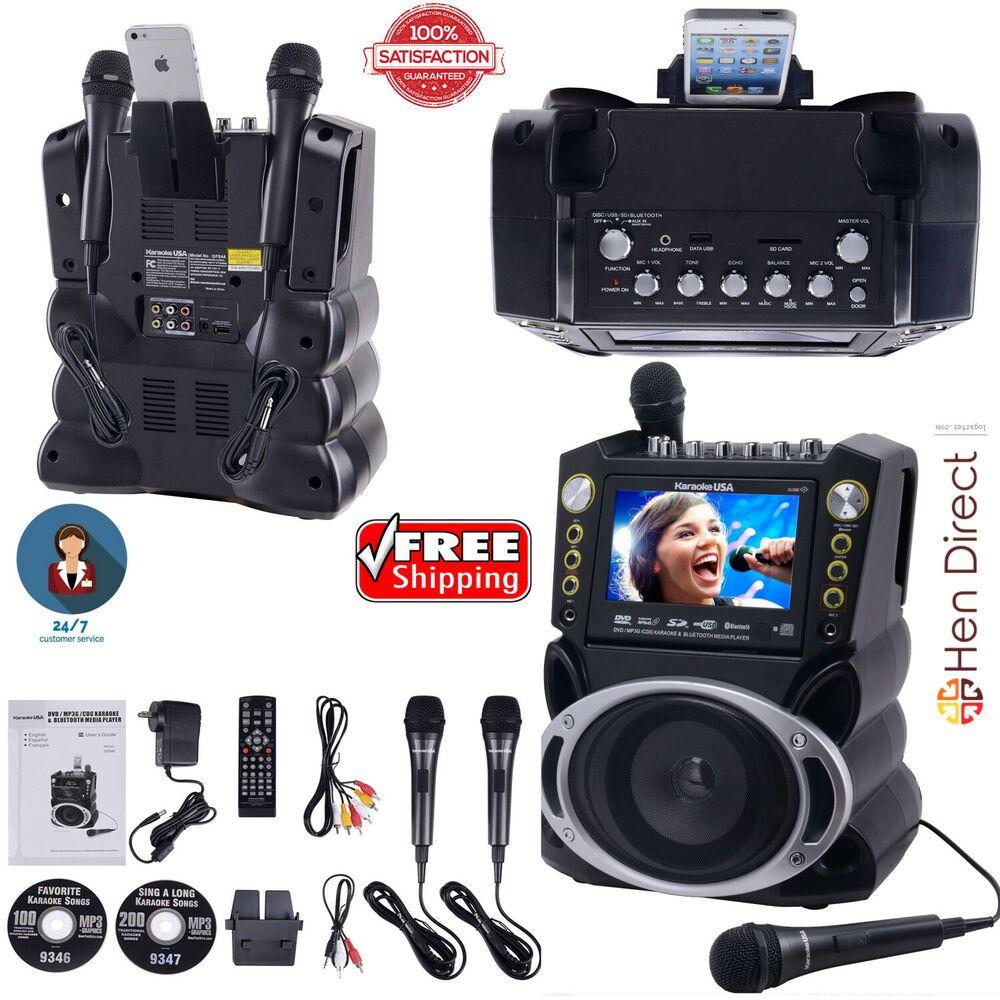 7 Color Screen Bluetooth DVD Karaoke Player System w/2 Microphones + 300 Songs #KaraokeUSA #karaokeplayer