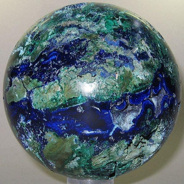Azurite Malachite Sphere Looks Like The Earth Mineral Stone