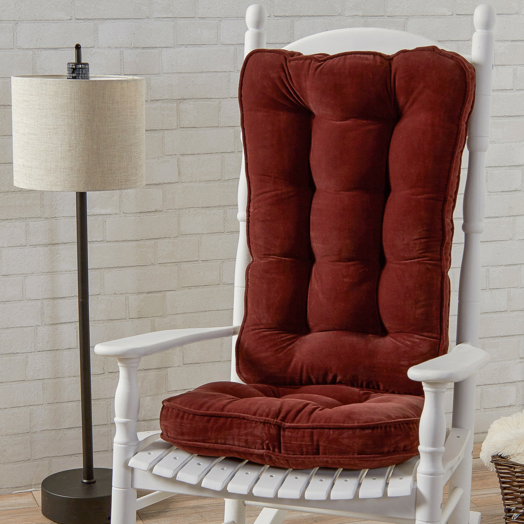 Greendale Home Fashions Hyatt Jumbo Rocking Chair Cushion Set   Burgundy.,  Red
