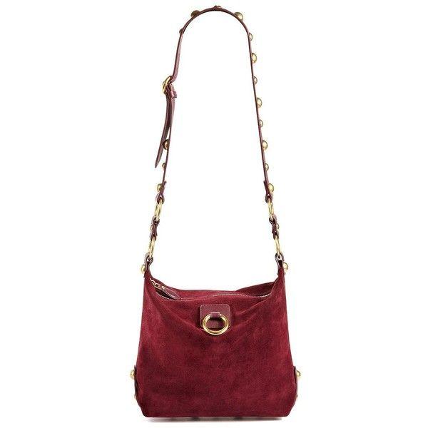 Lanvin Medium Nubuck Hobo (3,609 CAD) ❤ liked on Polyvore featuring bags, handbags, shoulder bags, apparel & accessories, aubergine, lanvin handbags, embellished purses, white shoulder bag, studded hobo purse and studded shoulder bag