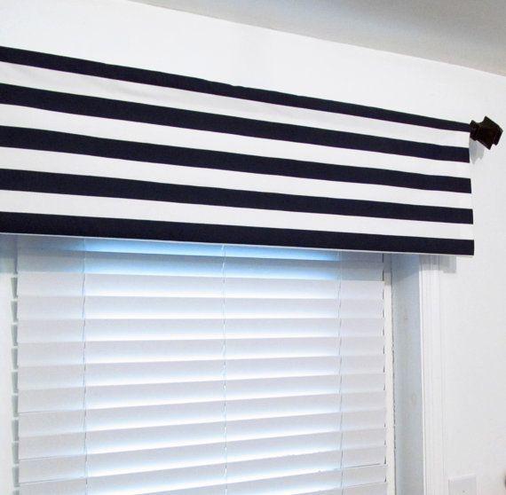 Nautical Navy White Stripe Valance Navy Blue By Oldstation On Etsy 24 50 White Nautical Bedroom Discount Home Decor Navy White Stripe