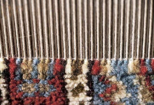 Teppich Handarbeit Knupfen Wolle Kettfaden Verknupfen Bunt Handwerk Closeup Faden Teppich Knupfen Handarbeit Teppich