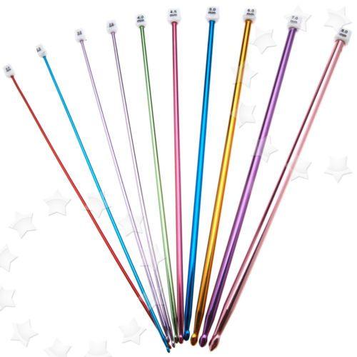 11er-Aluminum-Haekelnadel-Tunesische-mehrfarbig-27cm-lang-Nadeln-Set