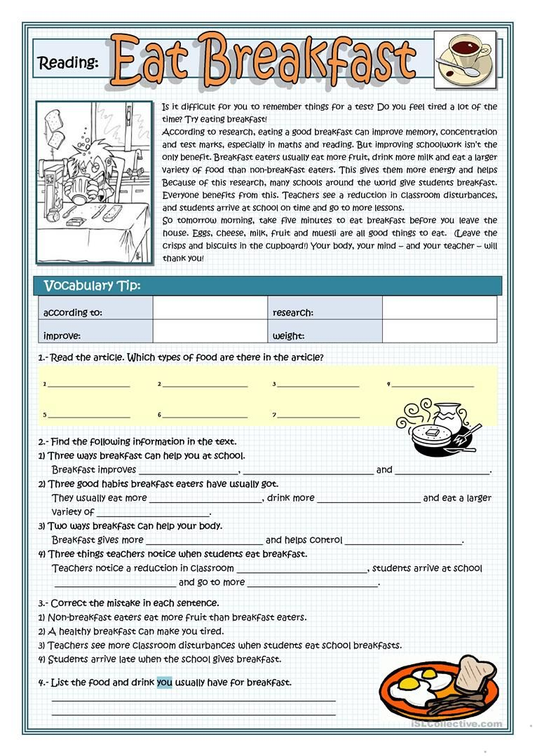 small resolution of EAT BREAKFAST worksheet - Free ESL printable worksheets made by teachers    Reading comprehension lessons