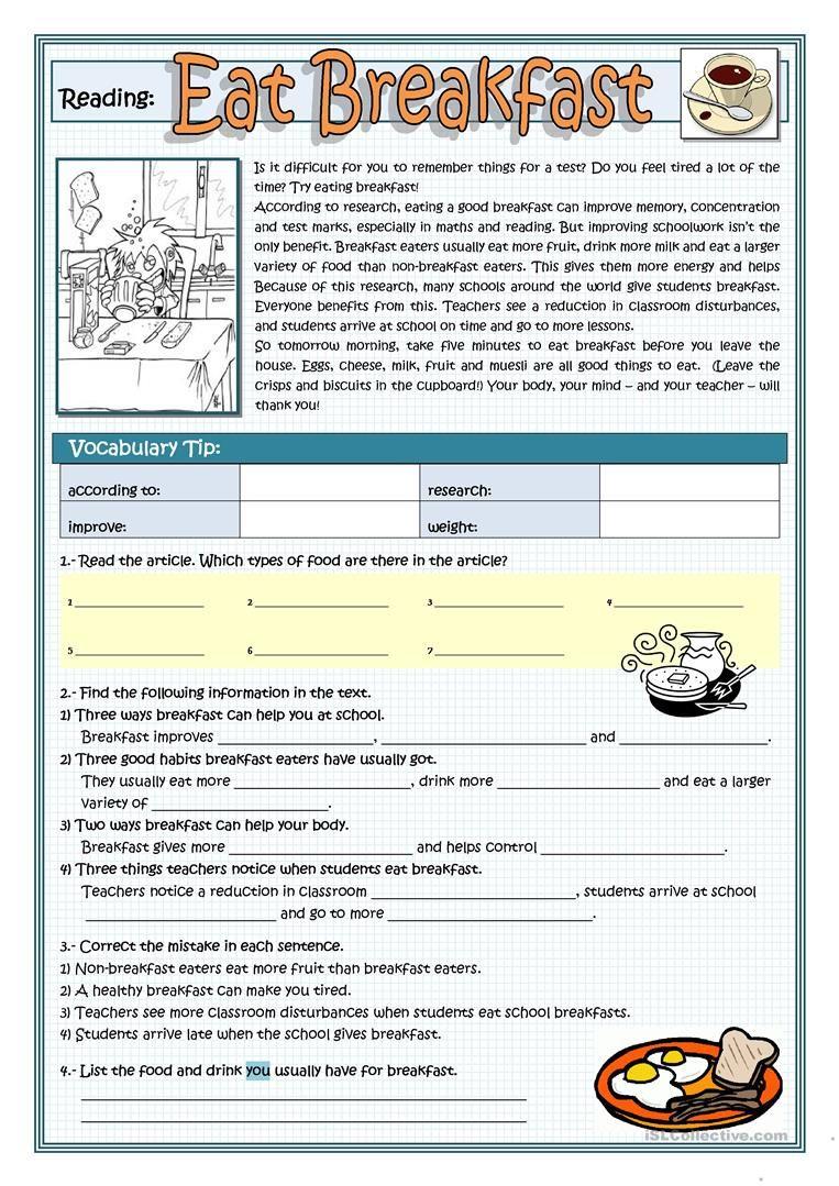 EAT BREAKFAST worksheet - Free ESL printable worksheets made by teachers    Reading comprehension lessons [ 1079 x 763 Pixel ]