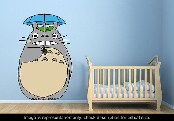 Totoro inspired totoro umbrella wall art applique sticker