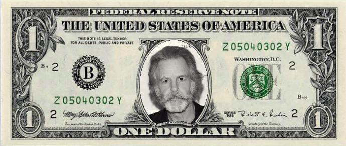 Bob Weir Real Dollar Bill Cash Money Collectible Memorabilia Celebrity Novelty Bank Note Dollar Bill One Dollar Bill Money Cash