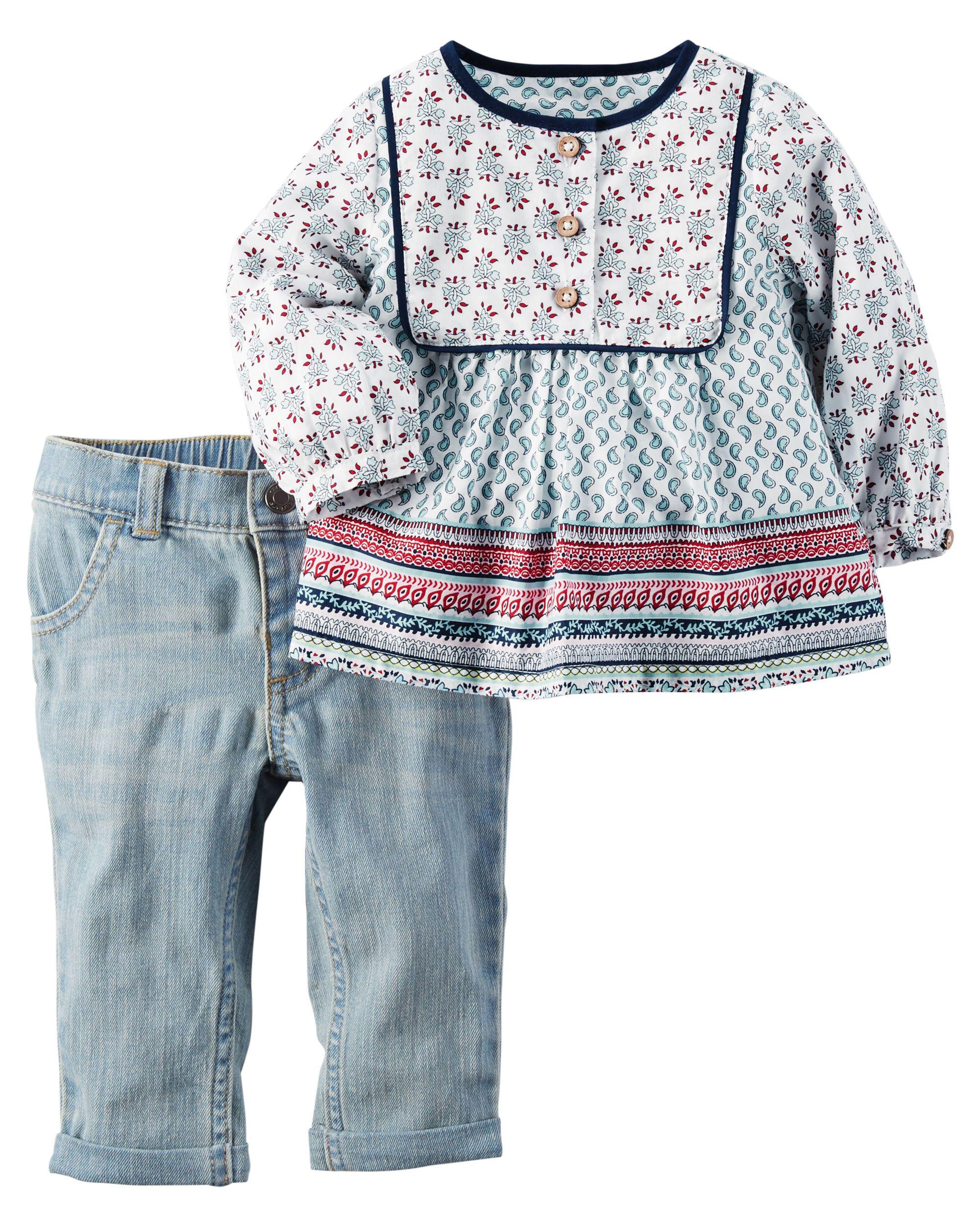 Baby Girl 2-Piece Tunic & Jean Set | Carters.com