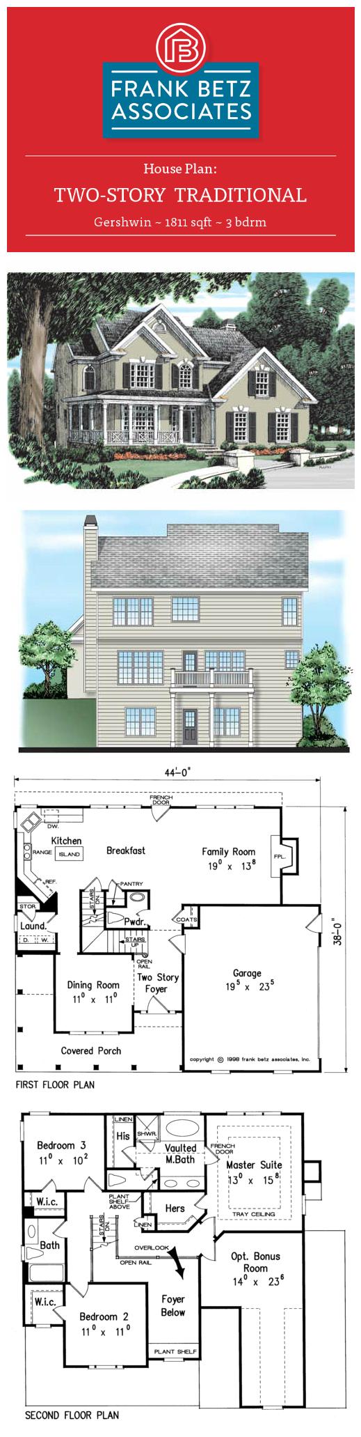 Gershwin: 1811 sqft, 3 bdrm traditional house plan design by Frank Betz Associates inc.  #houseplan