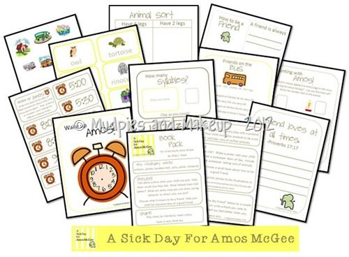 Printable Pack For A Sick Day For Amos Mcgee Kids Book Club Kindergarten Literature Activies For Kids
