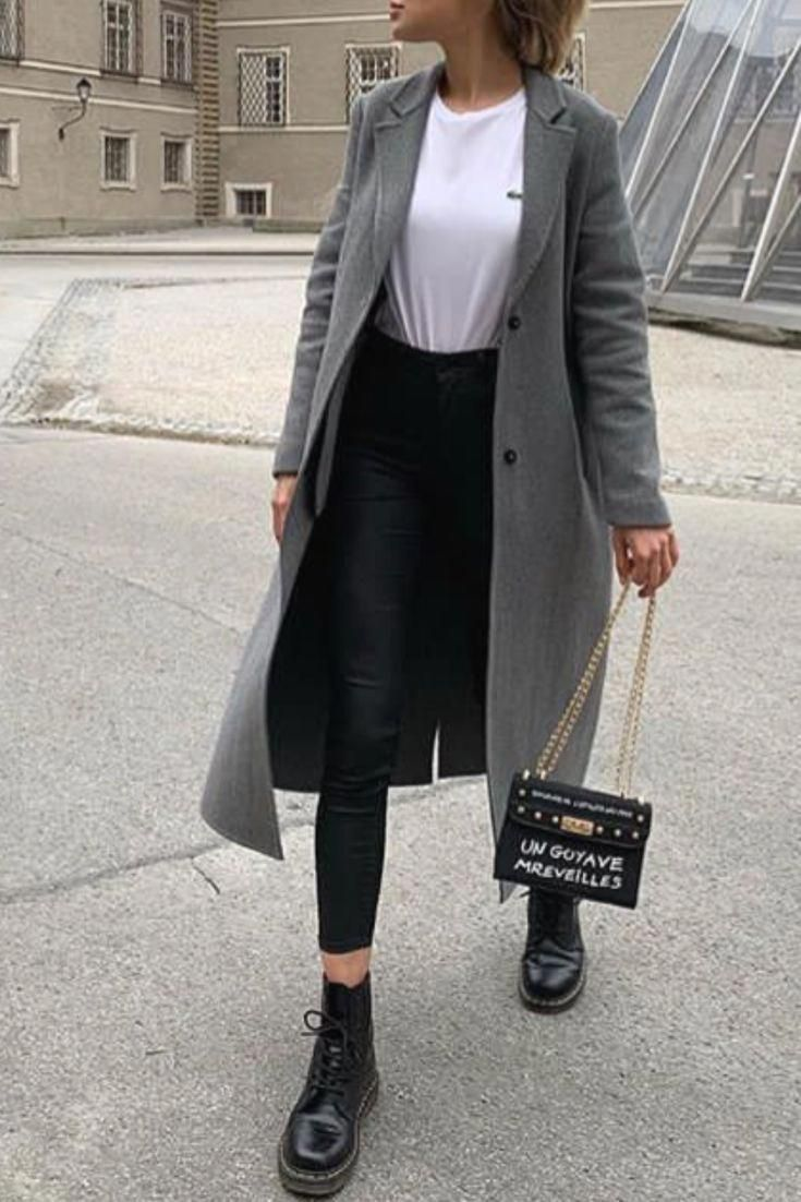 Photo of Trendy fall / winter fashion woman with a long gray coat and Doc Martens #docmartensoutfits