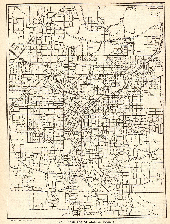 1917 Antique Atlanta Street Map City Map Of Atlanta Georgia Etsy Atlanta Map Street Map Vintage Map