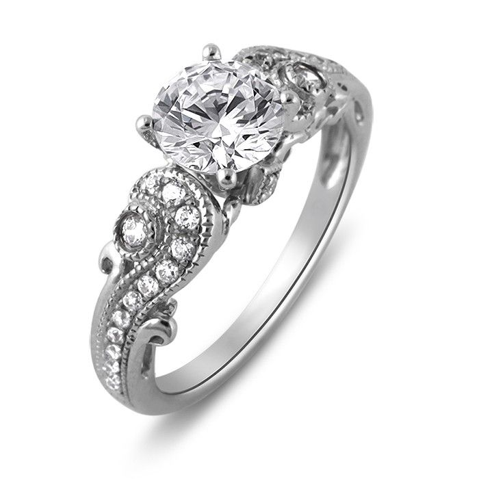 Simulate Diamond Ring 925 Sterling Silver Jewelry White Gold Plated Engagement Wedding For Women