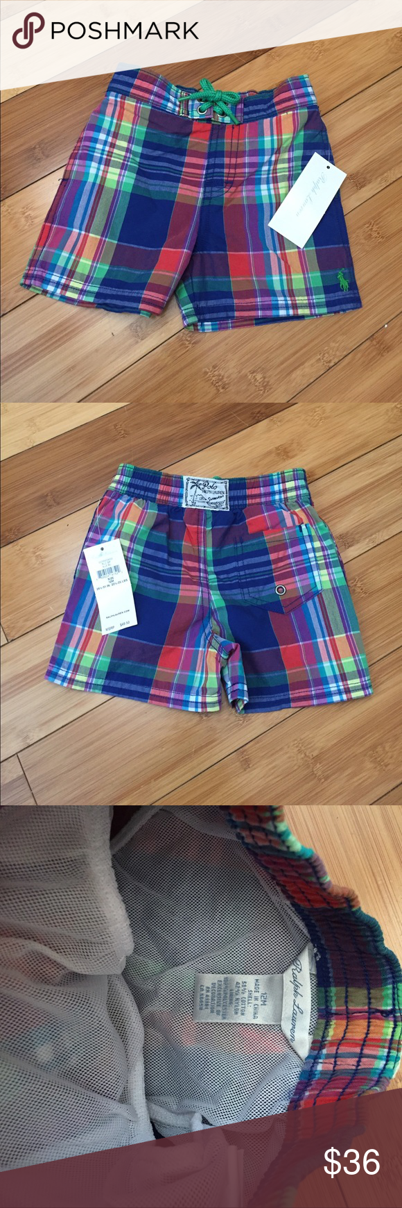 NWT Ralph Lauren Swim Trunks - 12M New with tags! Super adorable and preppy Ralph Lauren swim trunks. Colorful plaid, size 12 months. Inner lining for swim/water play. Ralph Lauren Swim Swim Trunks