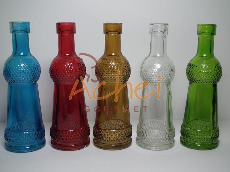 Garrafinhas de vidro coloridas Vintage 12,5cm de altura X 3,5cm diâmetro Temos com outras medidas...