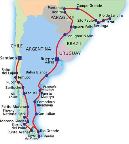 South America Itinerary  South Central America