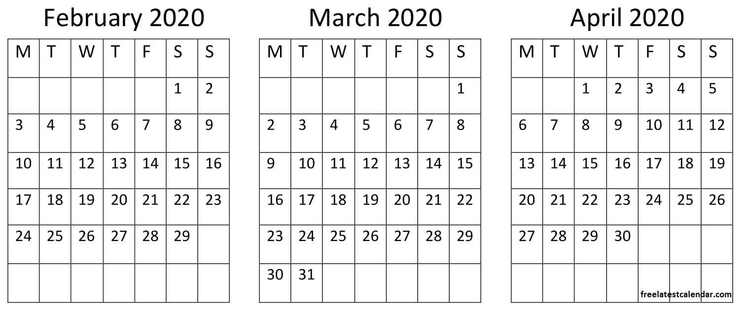February March April 2020 Calendar In 2020 Holiday Calendar