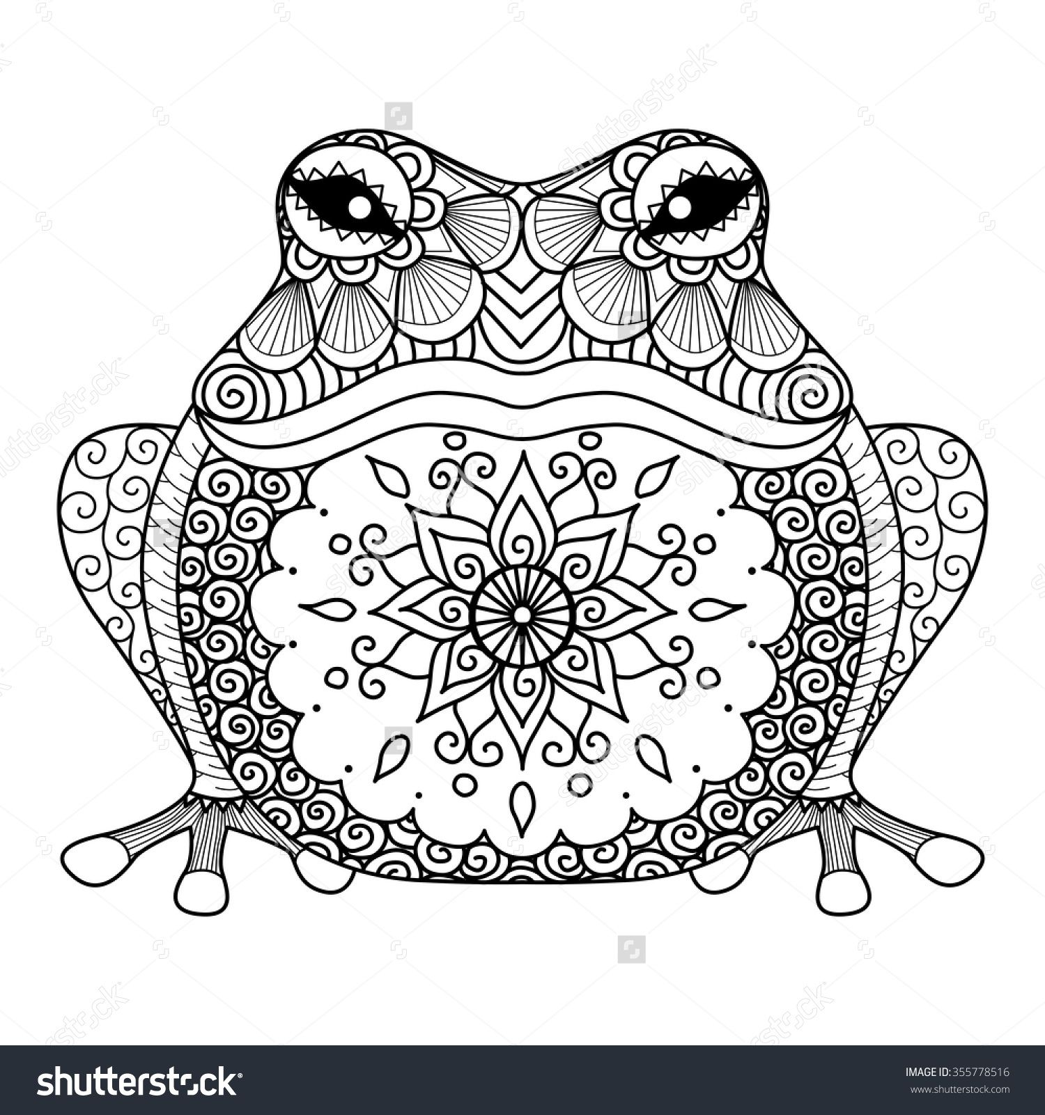 Hand drawn zentangle frog for coloring book for adult