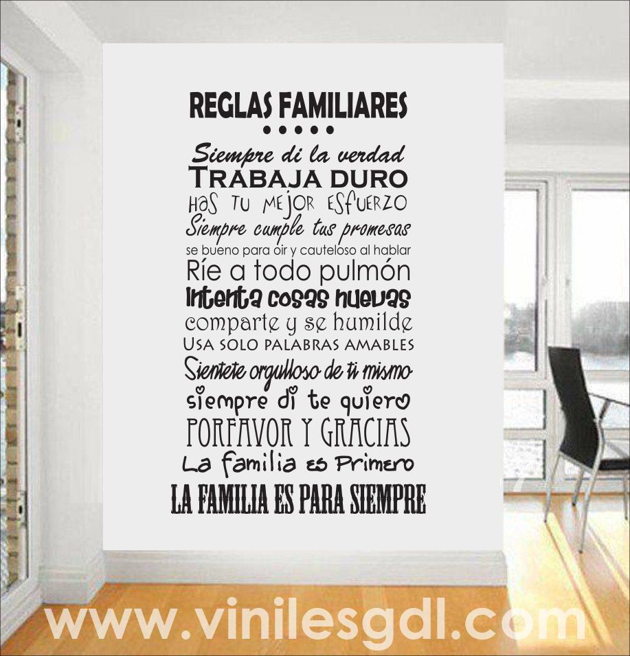 Vinil decorativo reglas familiares la familia es primero for Reglas de mi habitacion