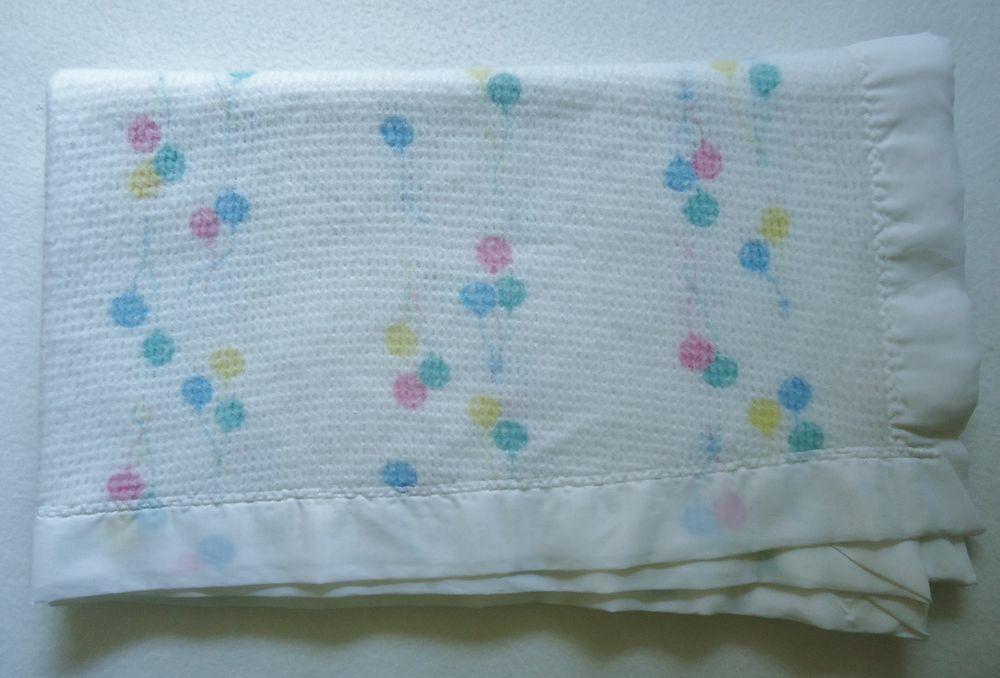 c930db47698c7 Vtg Baby Morgan Blanket Thermal White Balloon Crib Nylon Binding Bar Tacked
