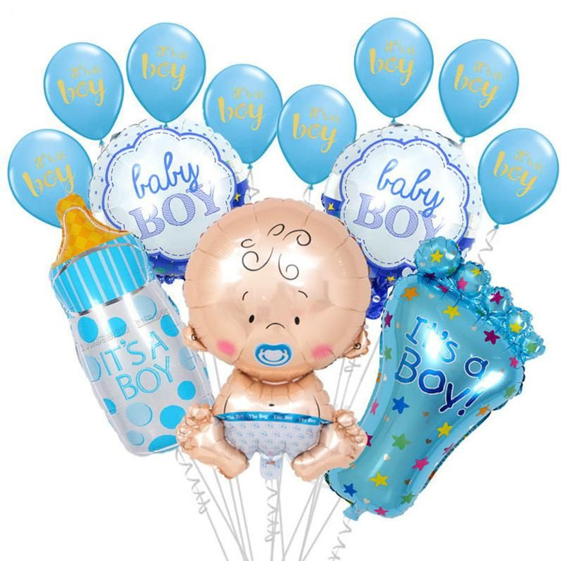 It S A Boy Set Balloon Bouquet Baby Shower For Boys Etsy Baby Shower Balloons Balloons Balloon Bouquet