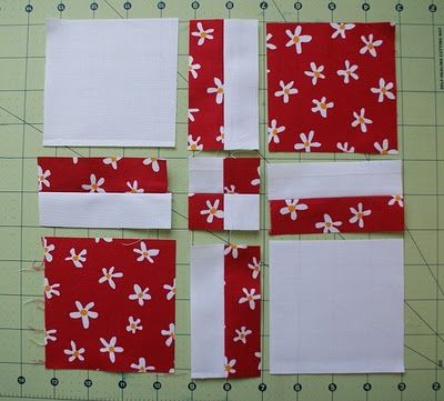 you've just turned a block of 4 5-inch squares into this 9-patch. Great tutorial!  I wonder if you can do this with super large squares and just make it the face of a quilt instead of using it as one block in a quilt . . . . . ?