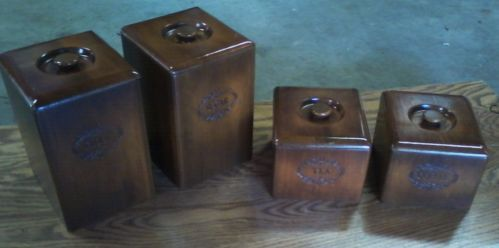 Vintage Wooden Canister Set Of 4 W Lids Linners 2 Scoops Canister Sets Wooden Canisters