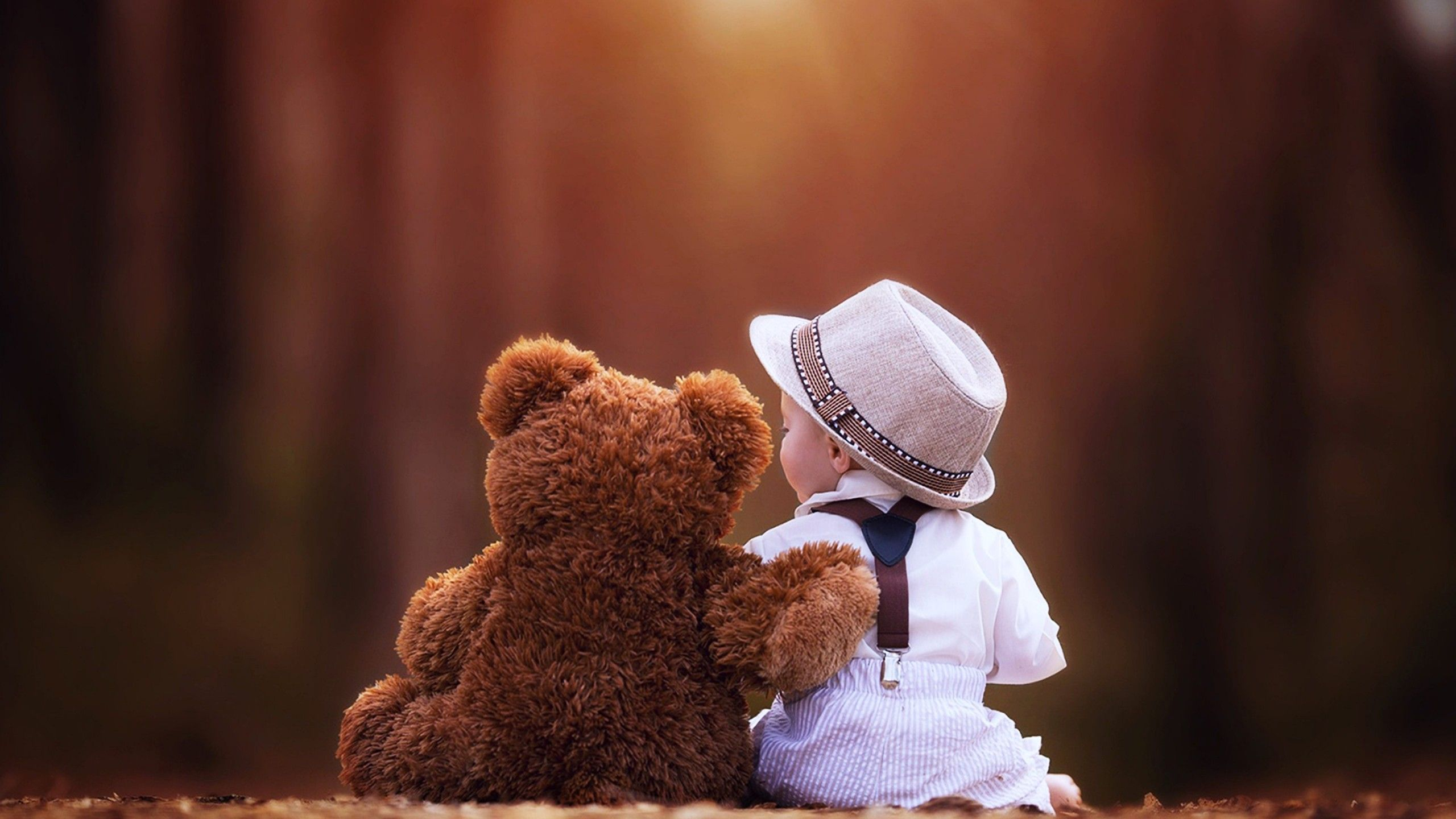cute baby with teddy bear hd desktop wallpaper high definition